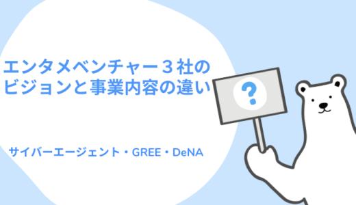 メガベンチャー3社(サイバーエージェント・GREE・DeNA)のミッション・ビジョン・バリューと事業内容の違い分析してみよう!【MVVクイズ】